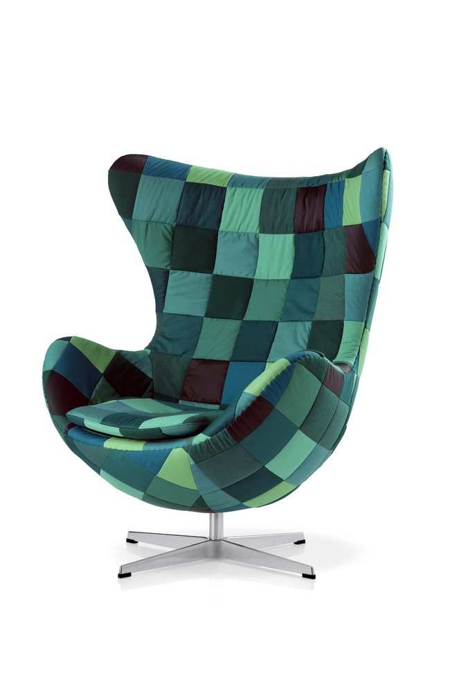 The Egg, designed by Arne Jacobsen in 1958. The patchwork edition is an interpretation by Danish artist Tal R in 2008 to celebrate the 50th anniversary of the chair. Tal R has made 50 unique patchwork Eggs